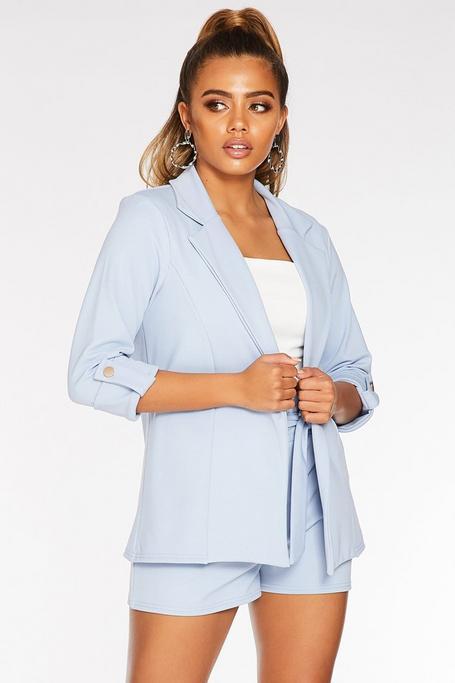 Petite Light Blue Crepe 3/4 Sleeve Jacket