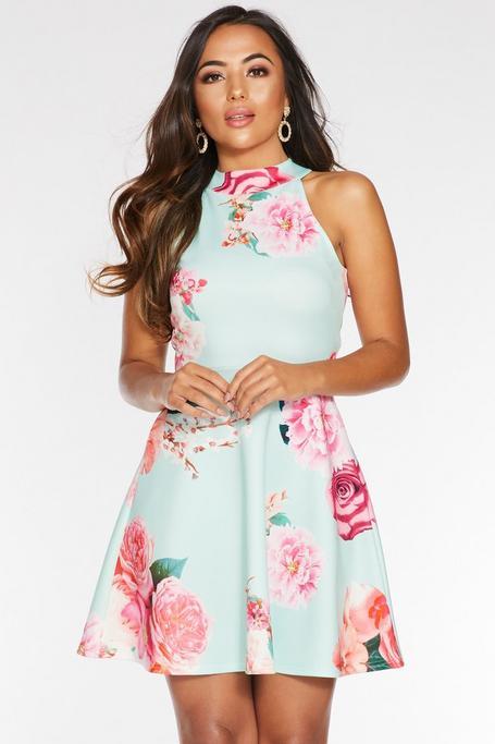 Petite Mint and Pink Floral Halterneck Skater Dress