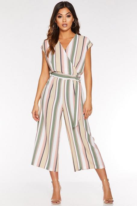 Stone Khaki and Pink Stripe Wrap Culotte Jumpsuit