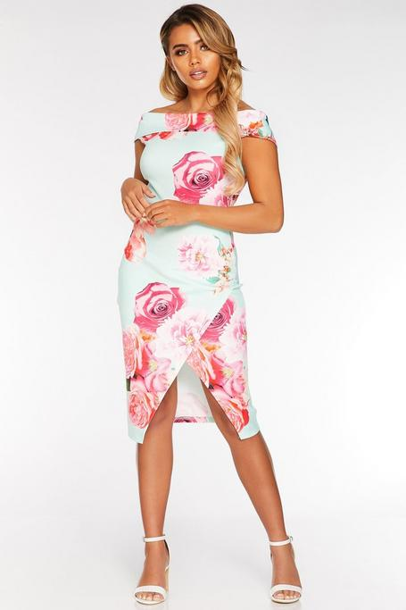 Petite Mint And Pink Off The Shoulder Floral Midi Dress
