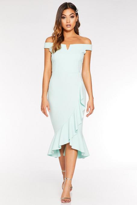 Mint Bardot V Bar Frill Midi Dress