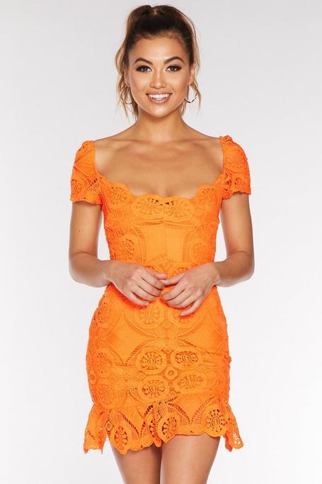 Orange Crochet Puff Sleeve Frill Hem Dress