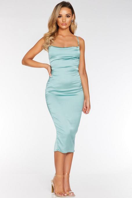 Sage Green Cowl Neck Bodycon Midi Dress
