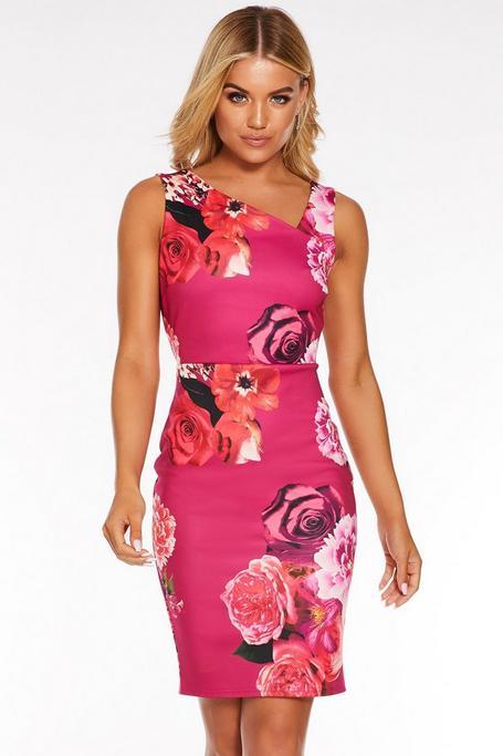 Pink Floral Asymmetric Midi Dress
