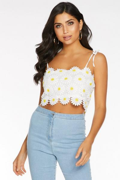 White and Yellow Crochet Daisy Crop Top
