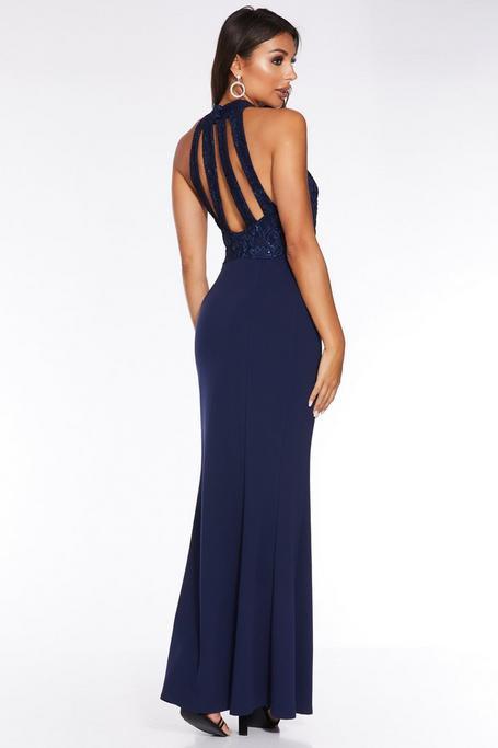 Navy Lace Sequin Embellished Strap Back Maxi Dress