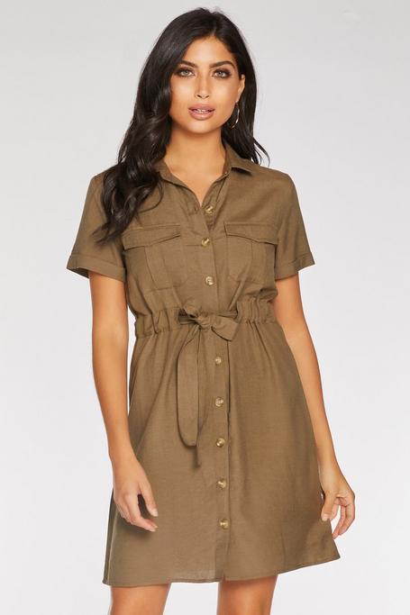 Khaki Linen Button Front Shirt Dress