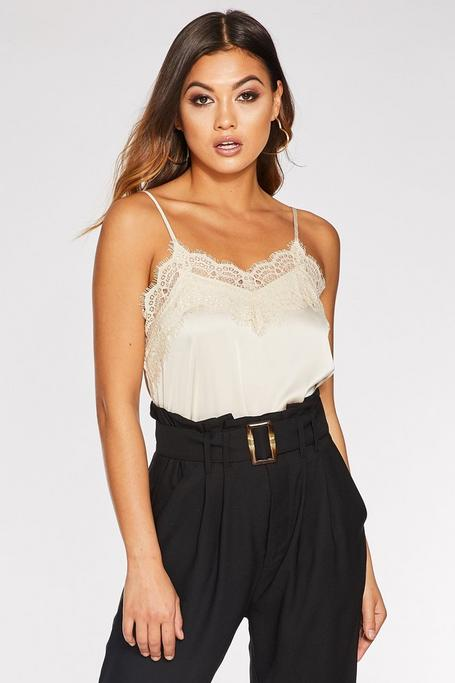 Cream Satin Lace Cami Top
