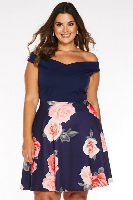 Plus Size Navy Floral Print Off The Shoulder Skater Dress