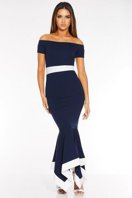 Navy And Cream Off The Shoulder Maxi Dress
