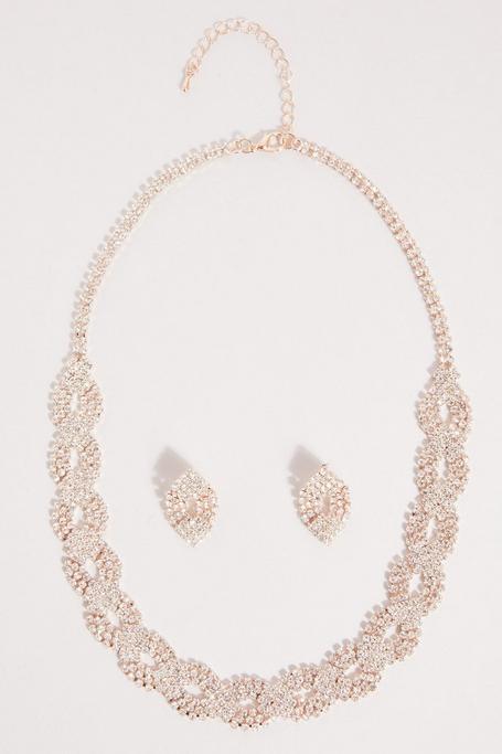 Set de Collar y Pendientes con Brillantes Oro Rosa