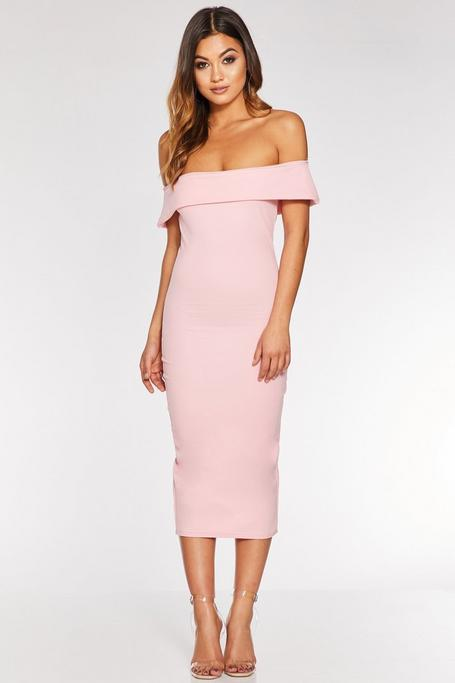 Pink Off The Shoulder Bodycon Midi Dress