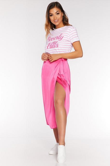 Fuchsia Satin Wrap Midi Skirt