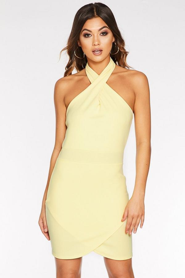 Vestido Ajustado Amarillo con Cuello Halter