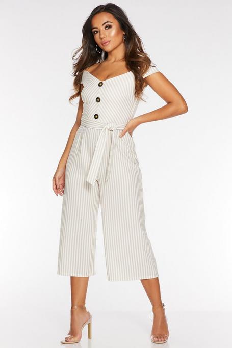 Petite Stone Stripe Off The Shoulder Culotte Jumpsuit