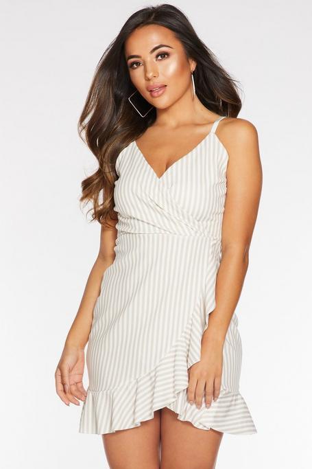 Petite Stone Stripe Wrap Dress