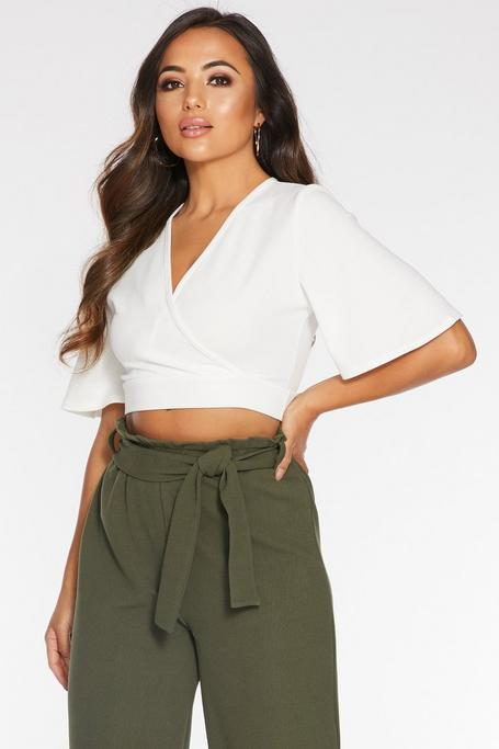 Petite Cream Flute Sleeve Crop Top