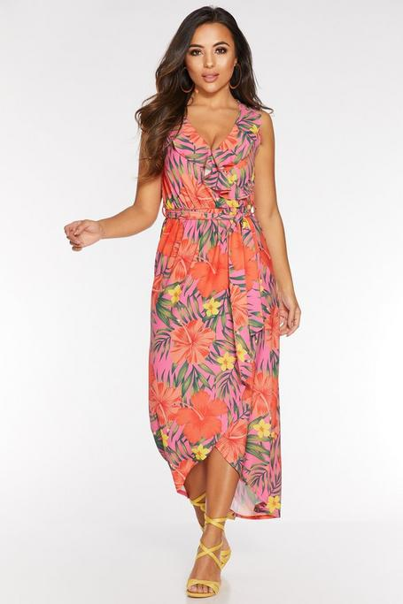 Petite Orange Pink and Green Frill Maxi Dress