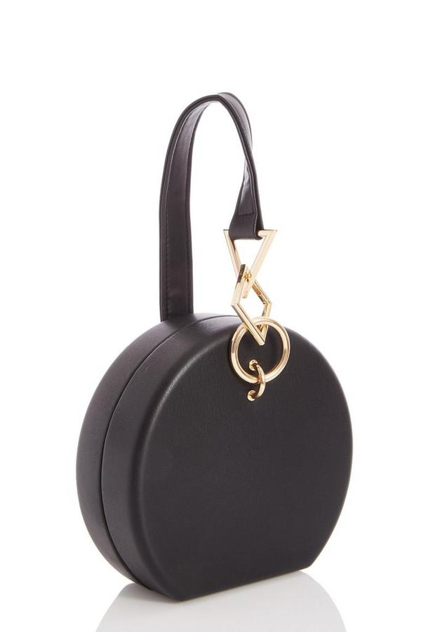 Black Faux Leather Chain Handle Round Bag