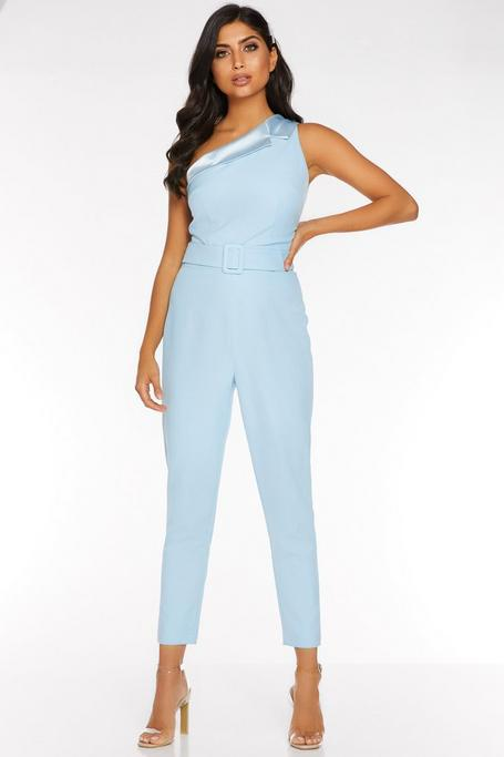 Blue One Shoulder Tapered Leg Jumpsuit