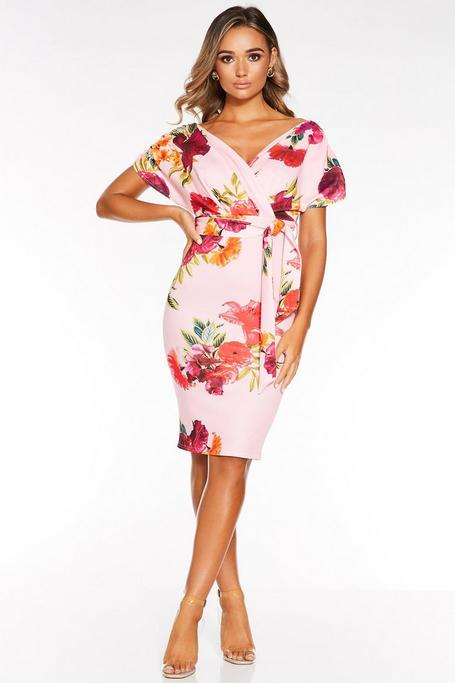 Pink And Red Floral Ruched Wrap Midi Dress