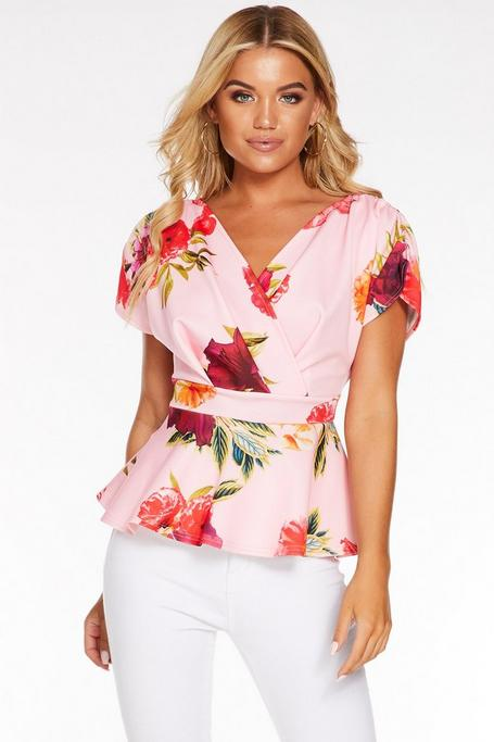 Pink And Red Floral Ruched Wrap Peplum Top