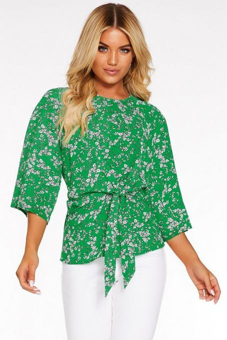Green Floral Print Tie Front Top