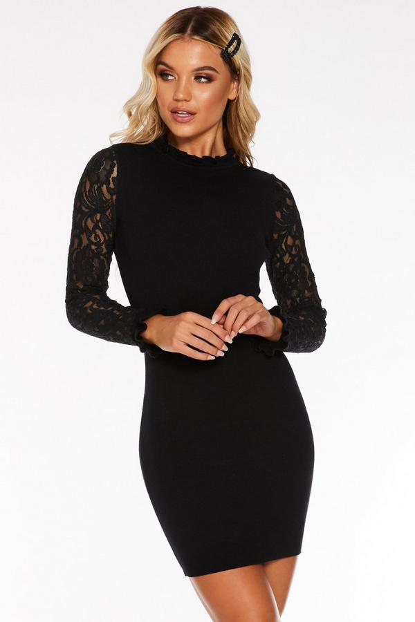 Black Light Knit Long Sleeve Sweater Dress