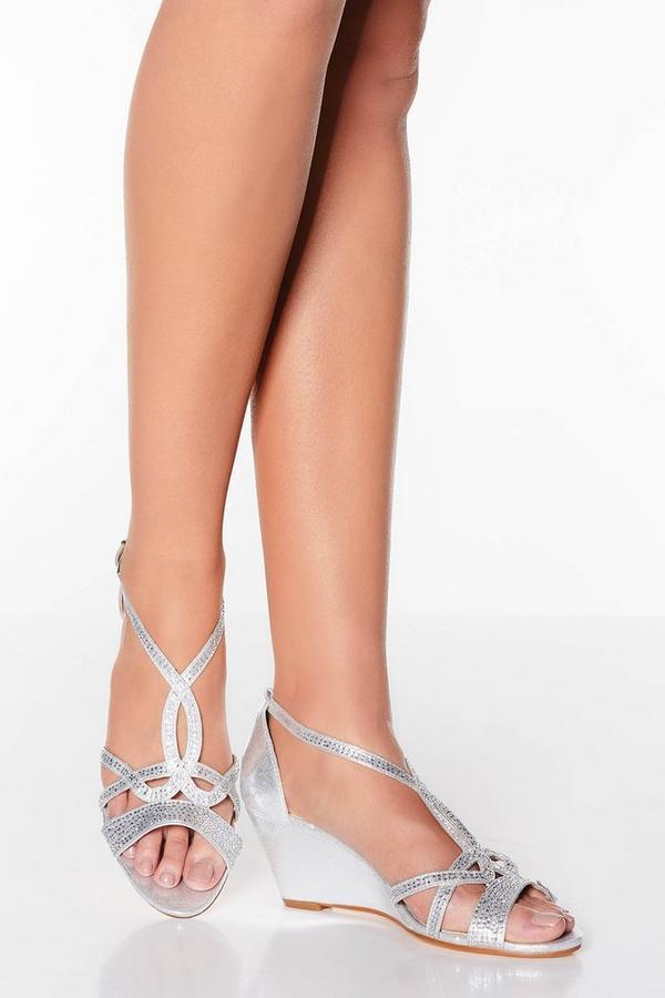 Silver Shimmer Diamante Loop Wedge Sandals