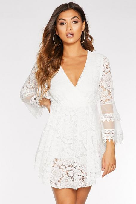 Cream Lace Floaty Sleeve Romper