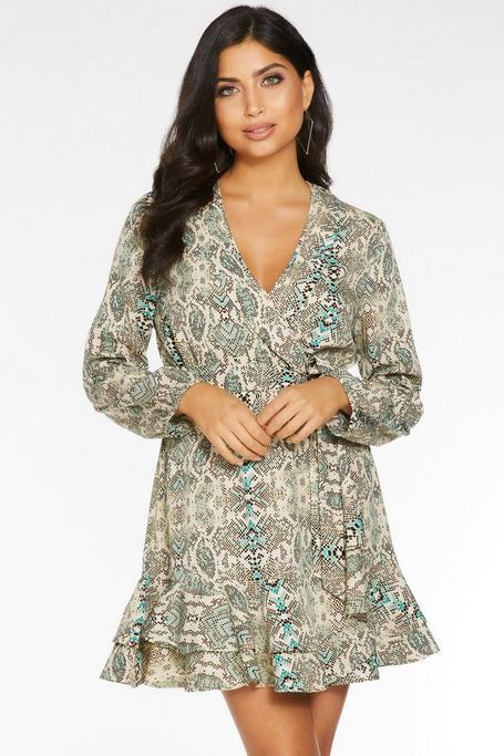 Green and Stone Snake Print Long Sleeve Dress