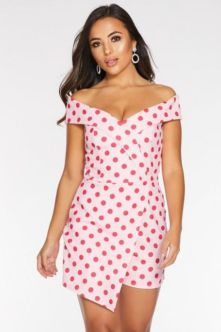 Petite Pink Polka Dot Off The Shoulder Romper