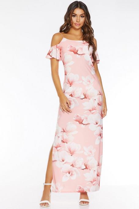 Coral Floral Cold Shoulder Maxi Dress