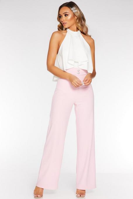 Pink High Waist Palazzo Trousers