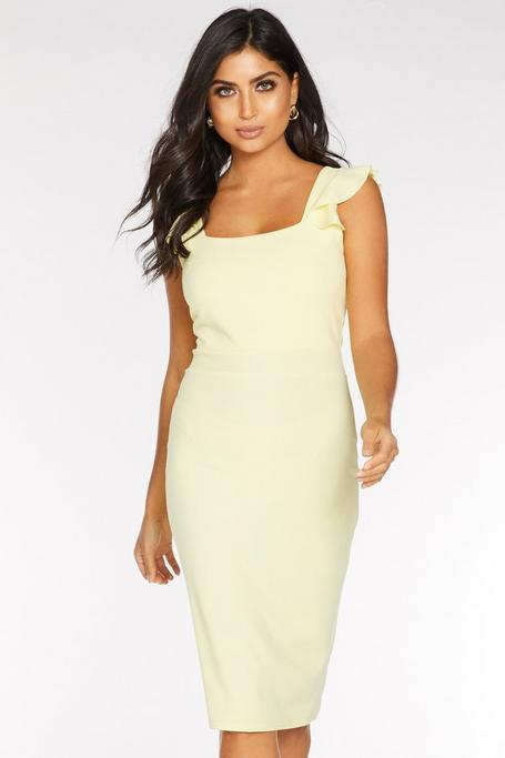 Lemon Frill Sleeve Midi Dress
