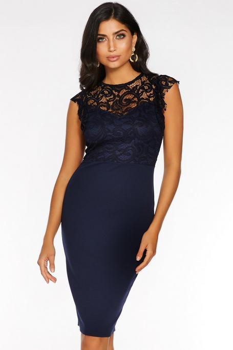 Navy Lace High Neck Frill Sleeve Midi Dress