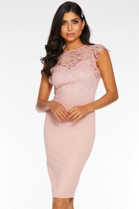 Dusky Pink Lace High Neck Frill Sleeve Midi Dress