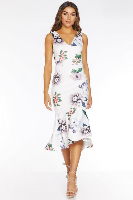 White Floral V Neck Frill Midi Dress