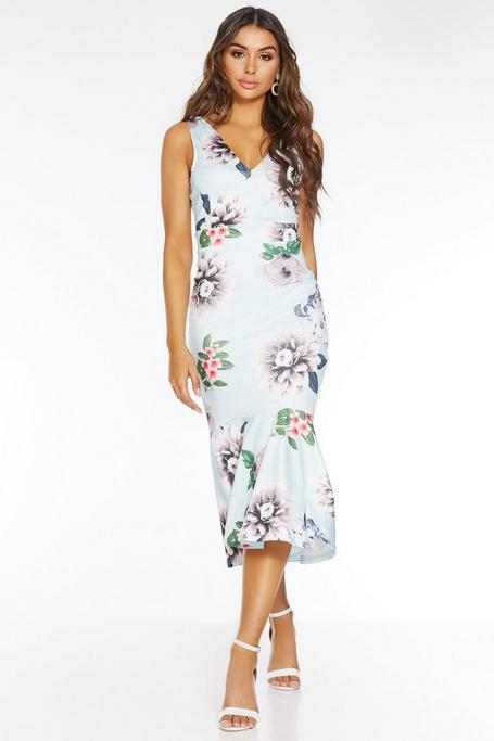 Pale Blue Floral V Neck Frill Midi Dress