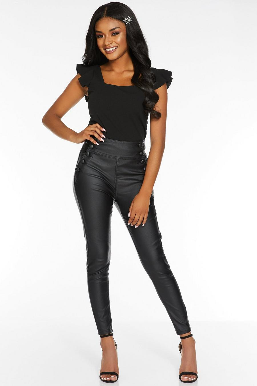 amazing selection discount collection 50% price Petite Black Faux Leather High Waist Trousers