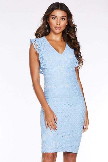 Pale Blue Crochet V Neck Midi Dress