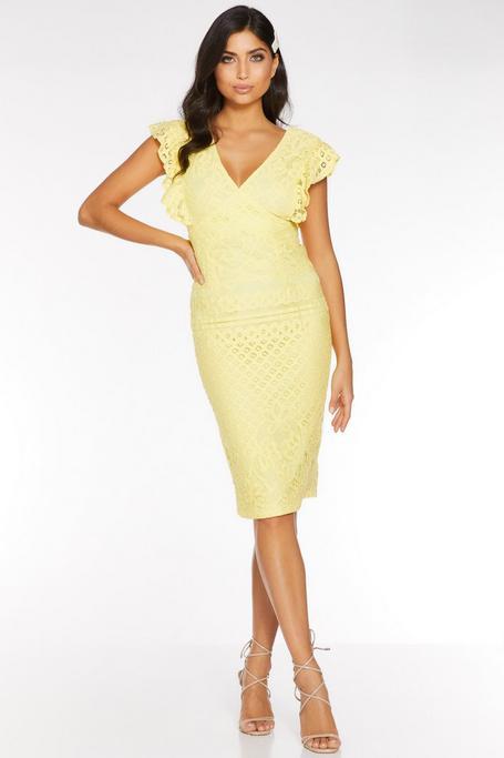Lemon Crochet V Neck Midi Dress