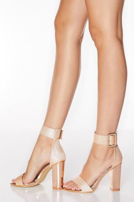 Sandalias de Tacón Ancho Doradas