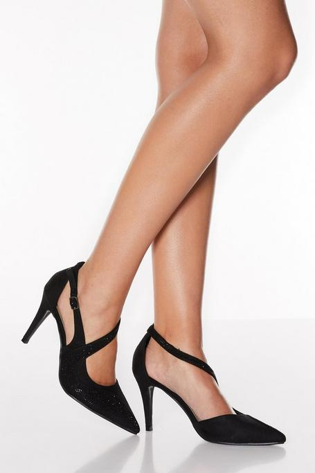 Zapatos de Tacón Negros con Brillantes