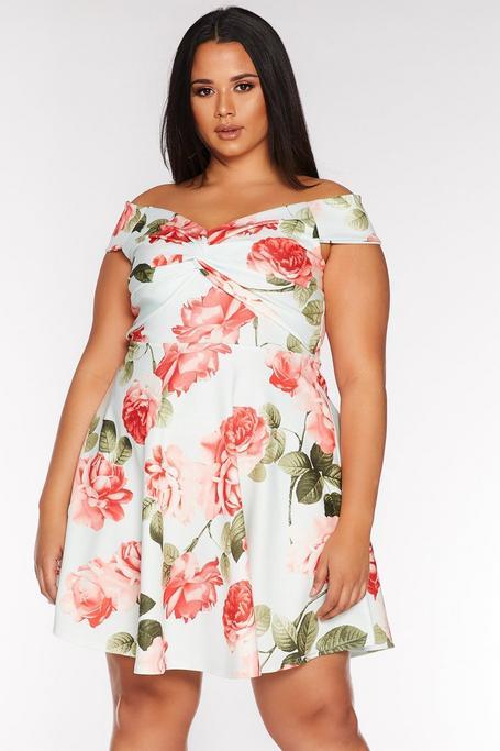 Plus Size Mint and Coral Floral Print Bardot Dress