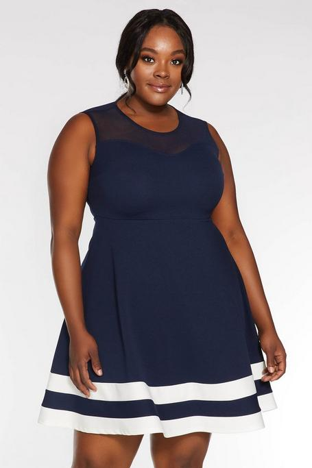 Plus Size Navy and Cream Contrast Skater Dress