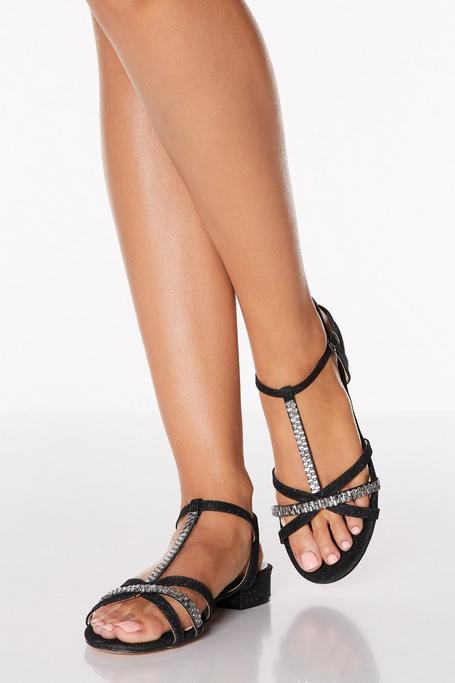 Black Diamante T Bar Block Heel