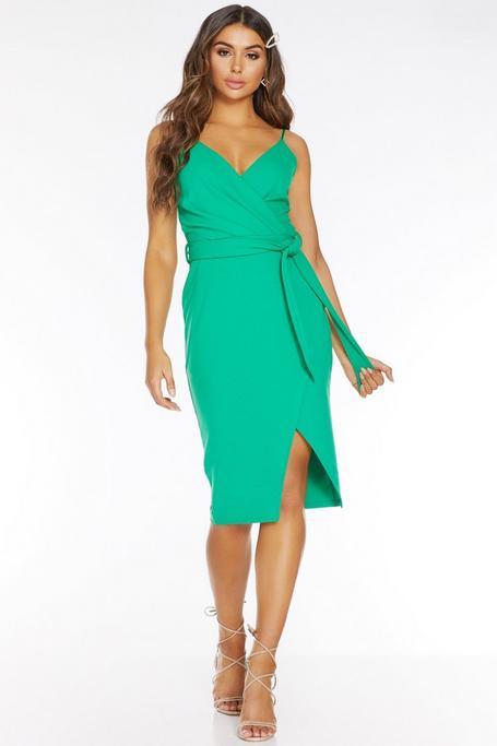 Green Wrap Tie Belt Dress