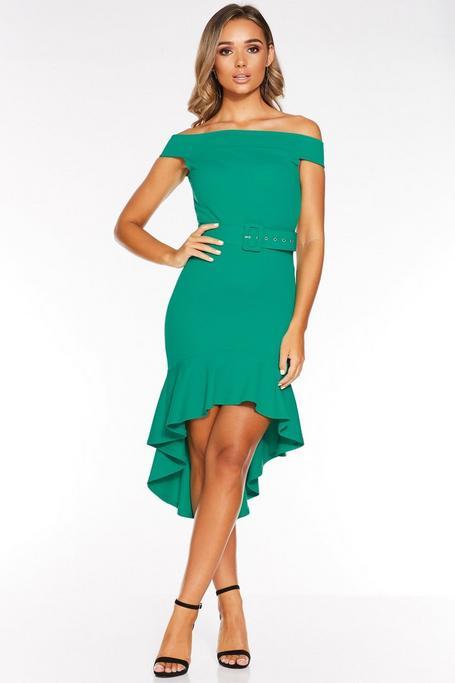 Jade Green Off The Shoulder Dip Hem Belted Midi Dress