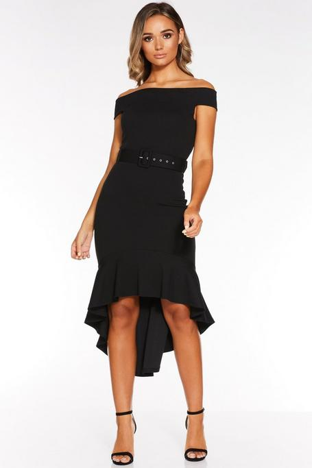 Black Off The Shoulder Dip Hem Belted Midi Dress